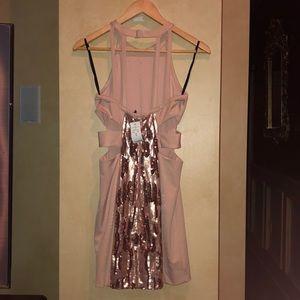 bebe Dresses - Bebe pink sequence dress size S